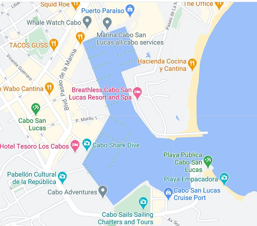 Map of Cabo San Lucas Marina