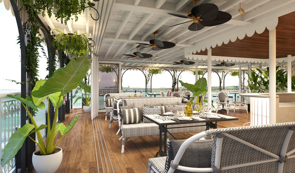 The outdoor dining lounge on the Mekong Jewel
