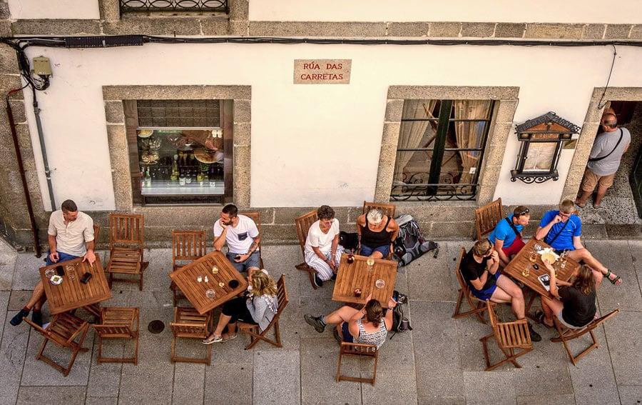 Pilgrims at a cafe in Santiago de Compostela