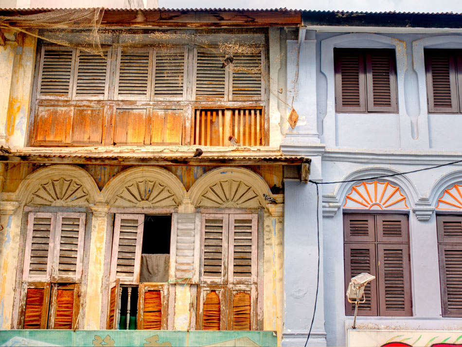 Penang's capital of George Town is full of interesting colorful buildings