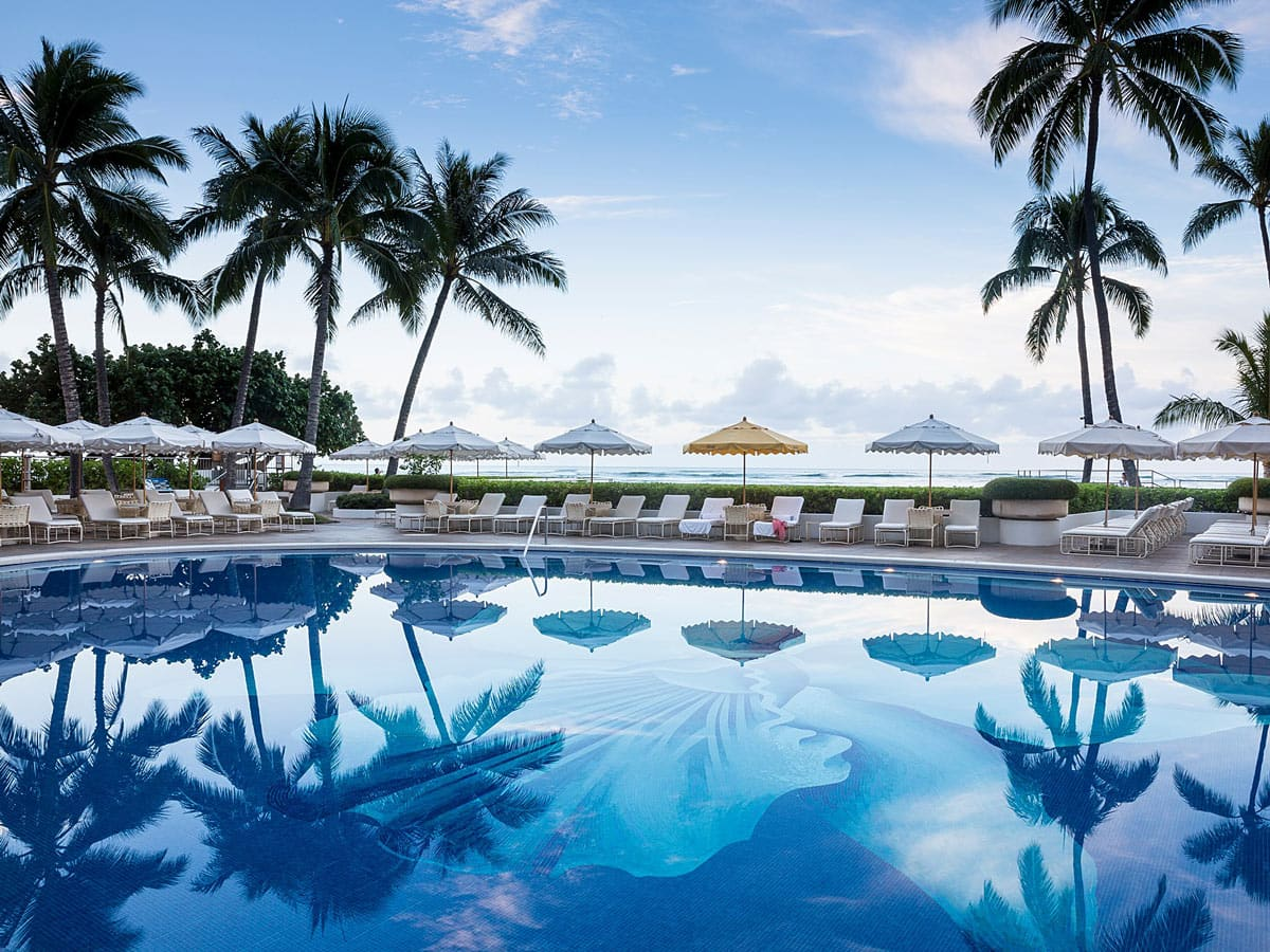 The Halekulani boasts a lovely orchid mosaic pool