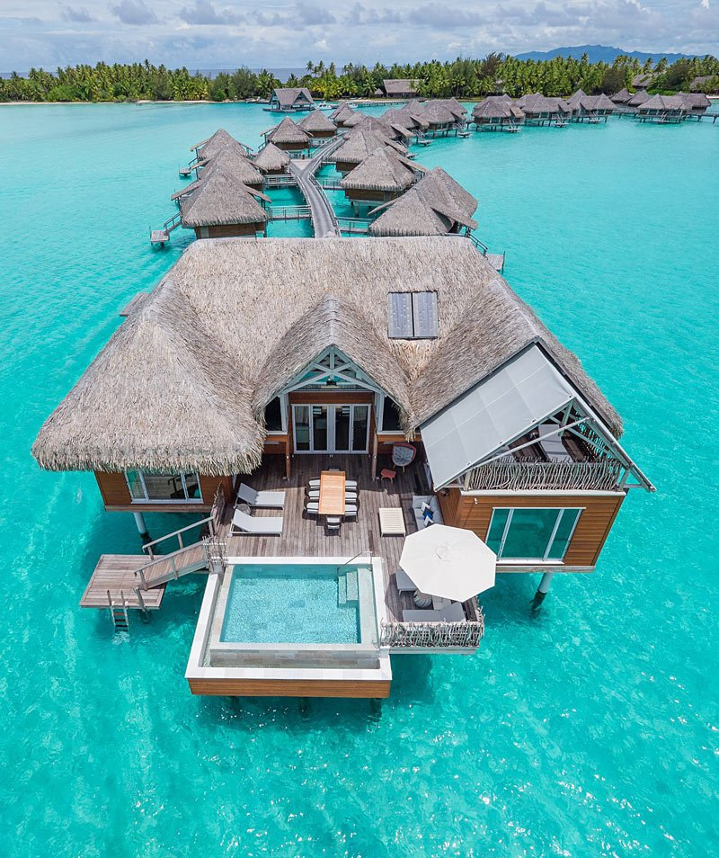 The InterContinental Bora Bora & Thalasso Spa Resort has overwater bungalows with private pools
