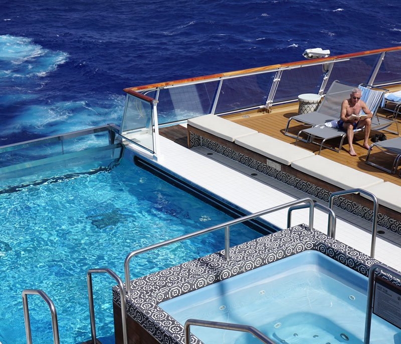When we're not in port, we like relaxing by the infinity pool at the back of the Viking Sea