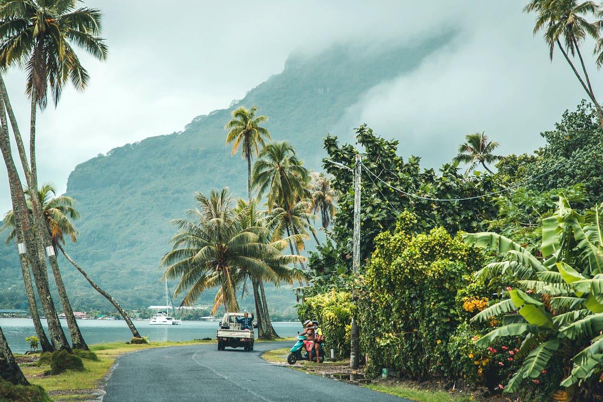 Coastal road around Bora Bora