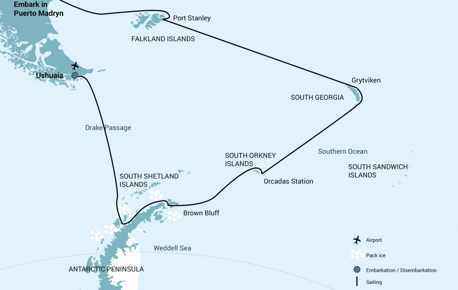 Map of Antarctica and Sub-Antarctic Islands