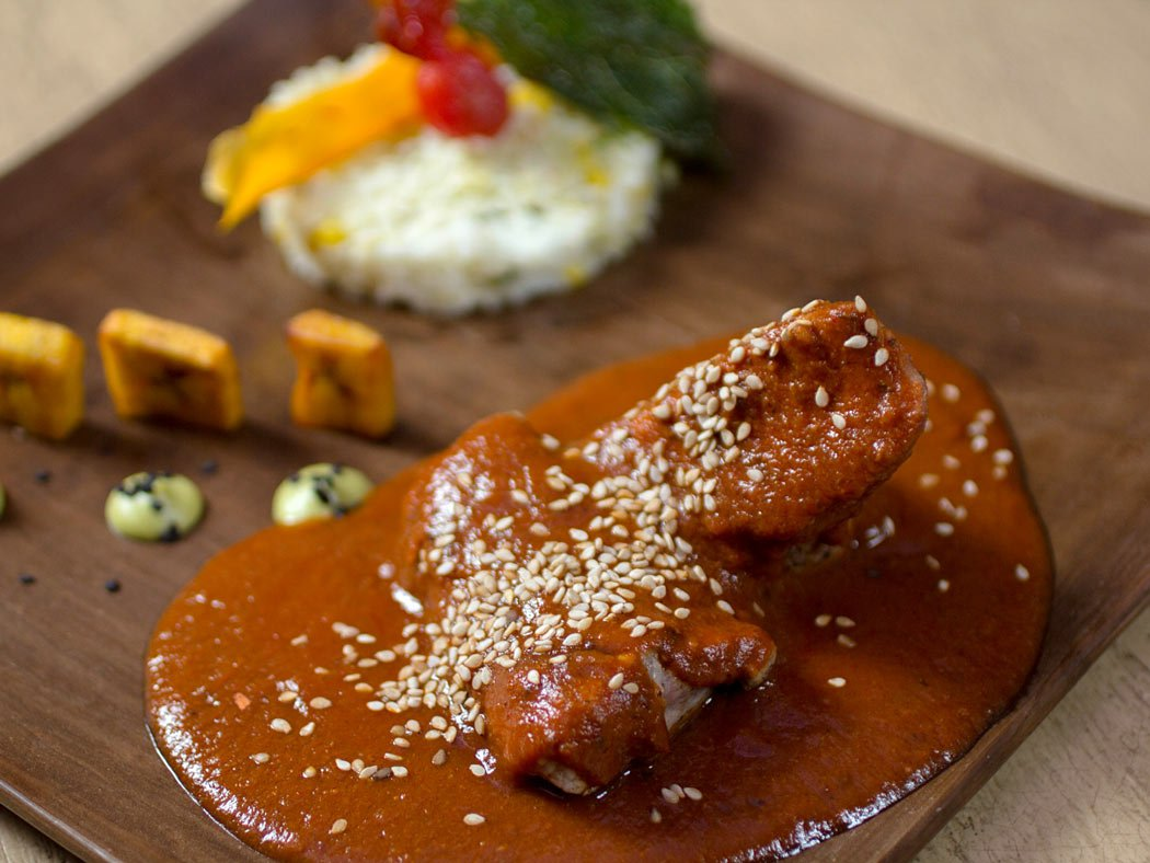 A Mexican food dish made with mole