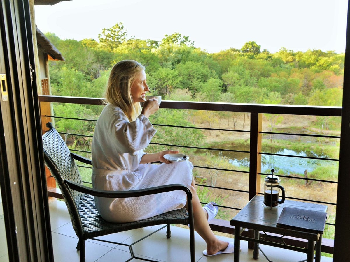 Morning coffee at the Victoria Falls Safari Club