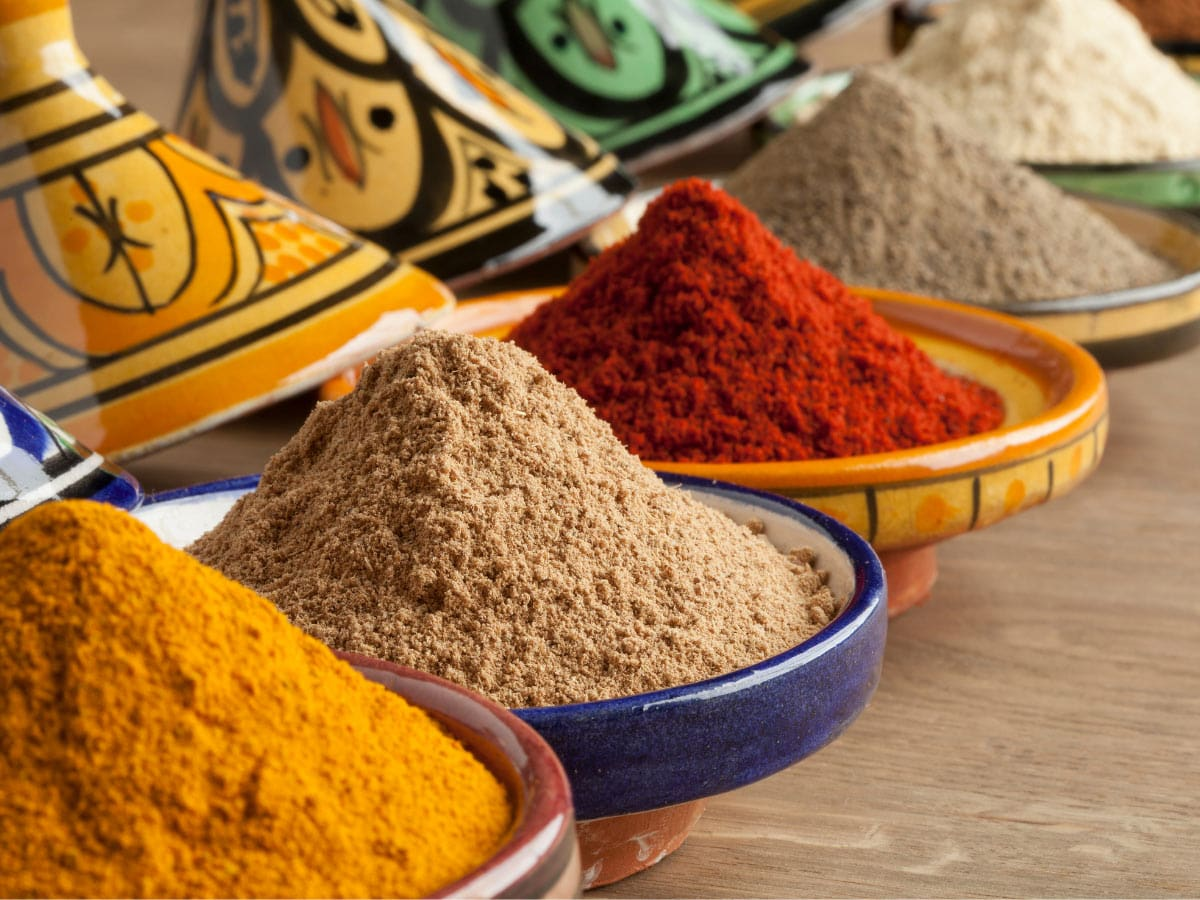 On a Morocco cruise, you can visit Marrakesh and see spices in the souk.
