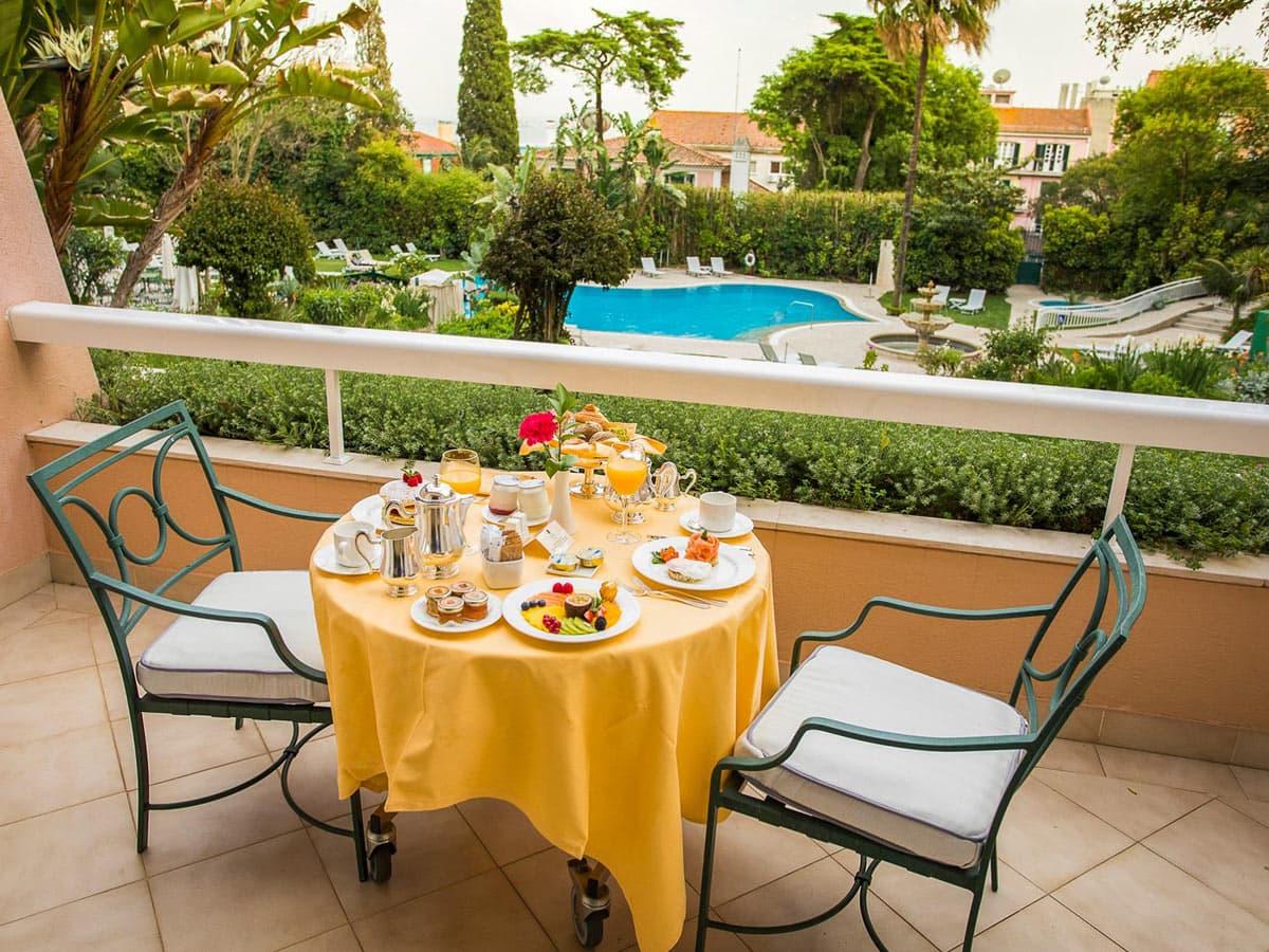 Breakfast on the balcony at Olissippo Lapa Palace, Lisbon