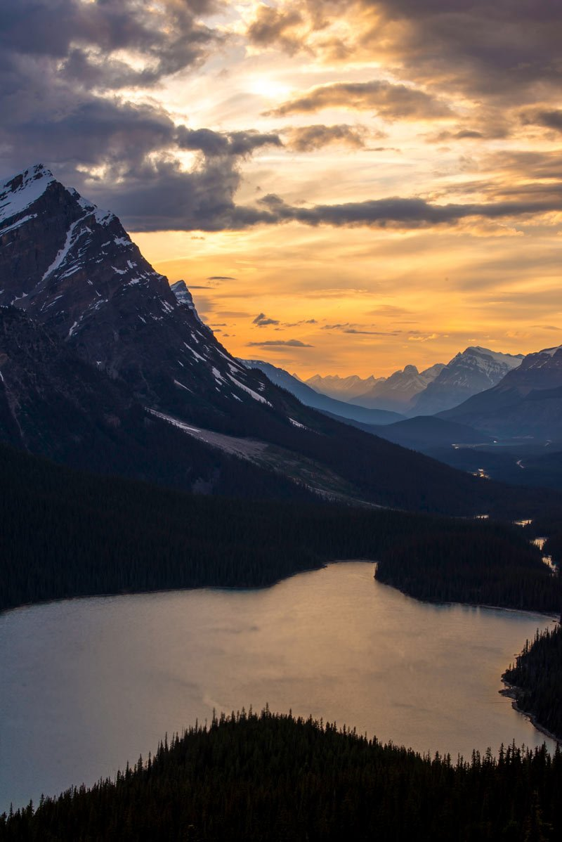 Glacier-fed Peyto Lake is a popular stop when driving along the Icefields Parkway