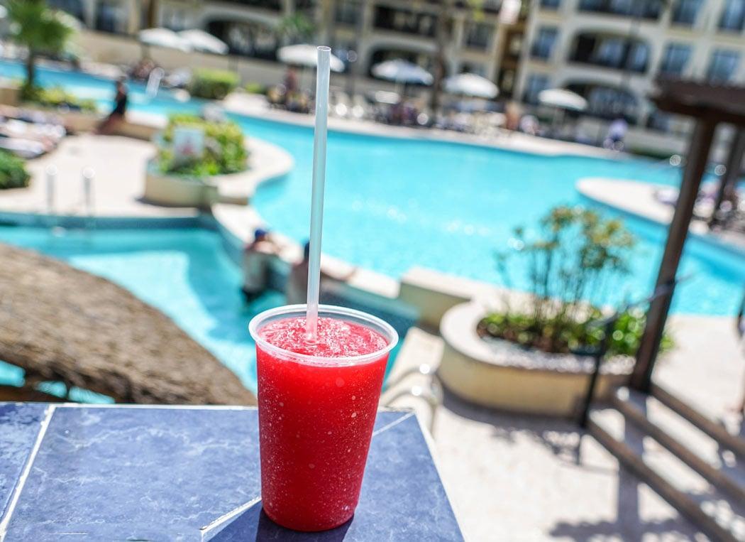 Strawberry daiquiri by the pool