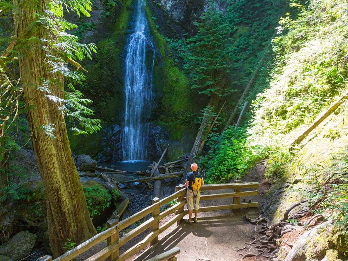 Hiking to a waterfall on a Vancouver Island Road Trip