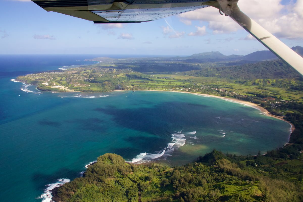 An aerial view of Hanalei Bay