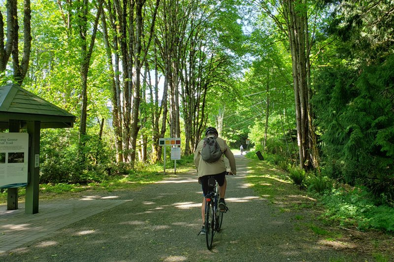 Bicycling the Galloping Goose Trail is a great way to get some exercise outdoors in Victoria.