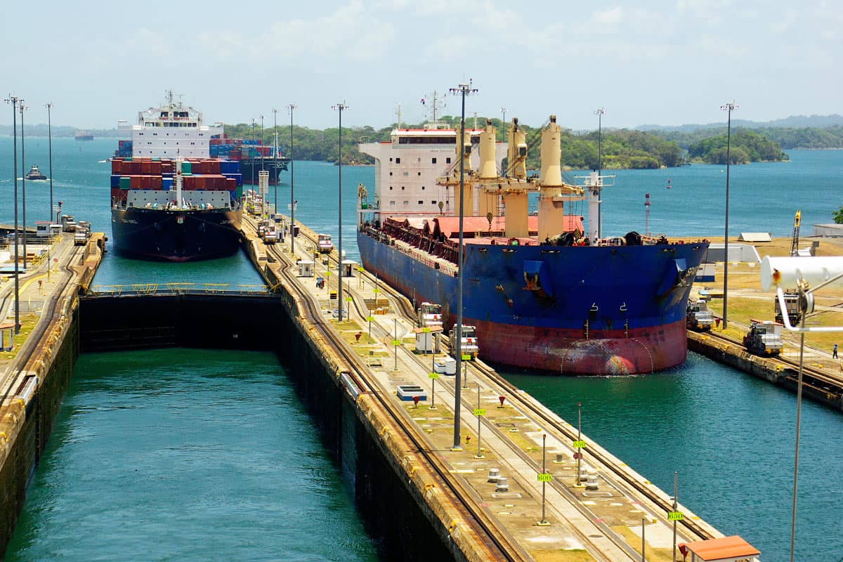 Two freighters moving through the Gatun Locks in the Panama Canal