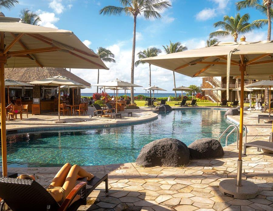 Koa Kea's pool and beachfront lawns are never busy.