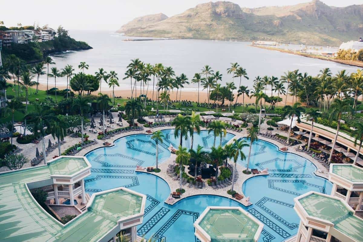 The Kauai Marriott's pool, one of the largest on Kauai, has Romanesque columns and fountains.