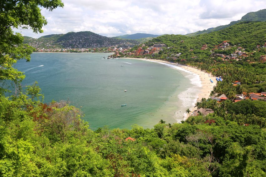 View of Zihuatanejo and its most popular beach, Playa La Ropa