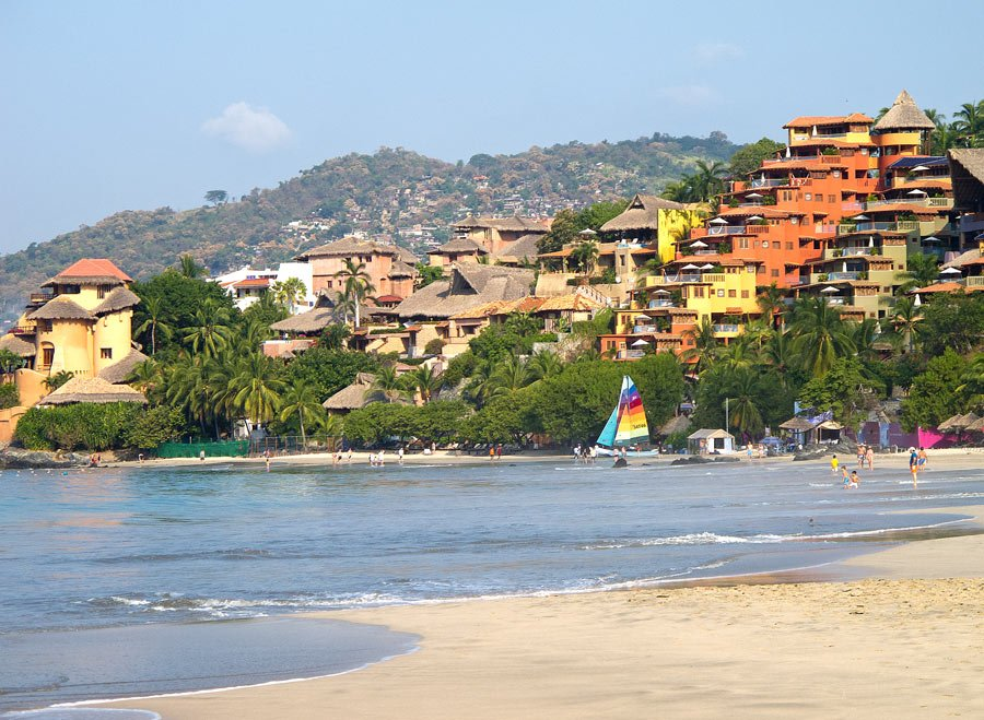Playa La Ropa, about one mile long, is the main beach in Zihuatanejo for swimming and watersports.