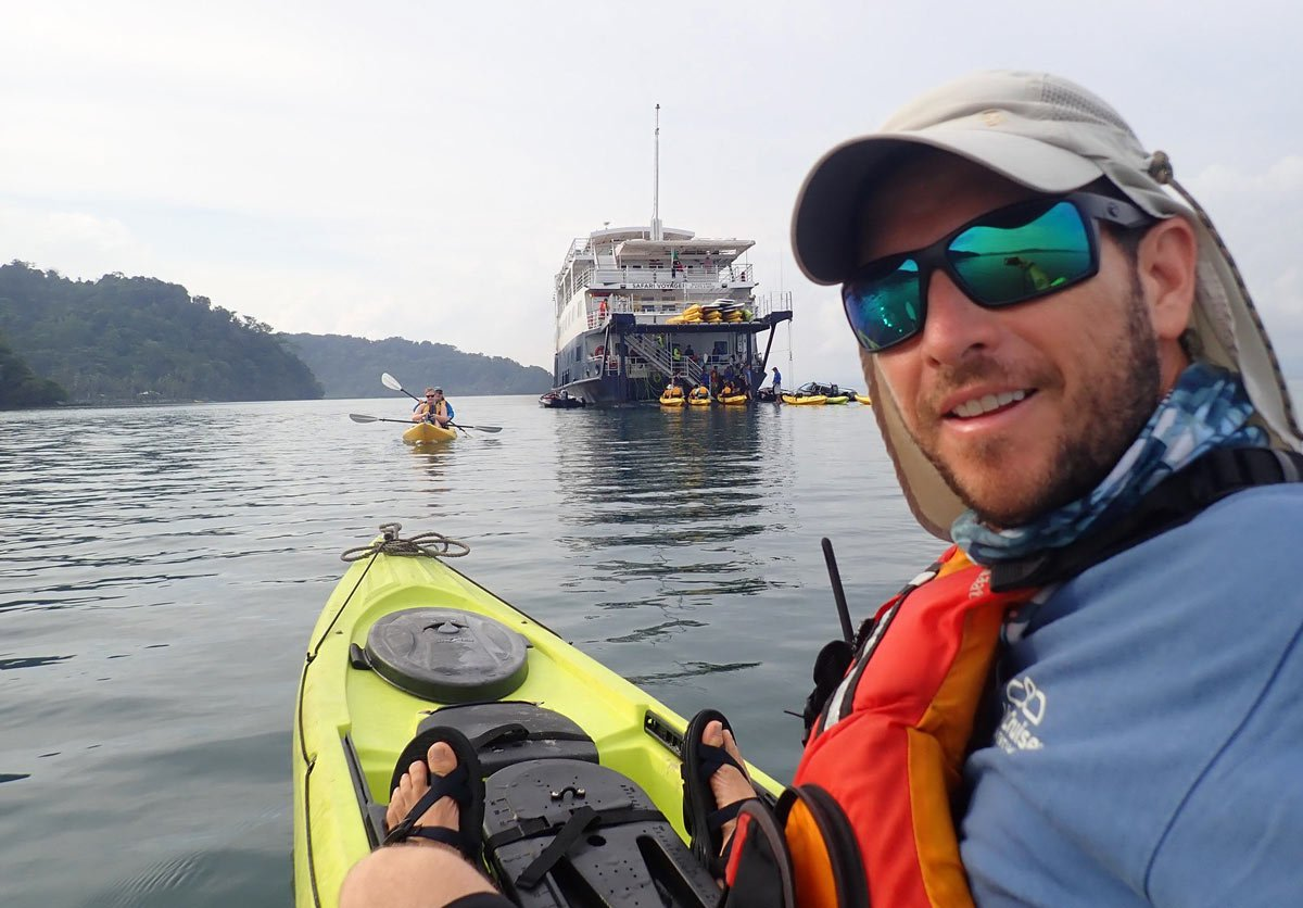 Kayaking while on an UnCruise Costa Rica voyage