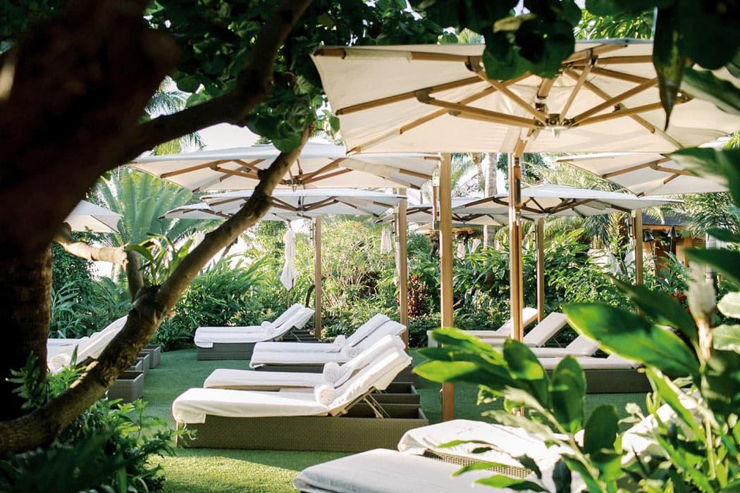 Pool relaxation area at Four Seasons Sensei Lanai