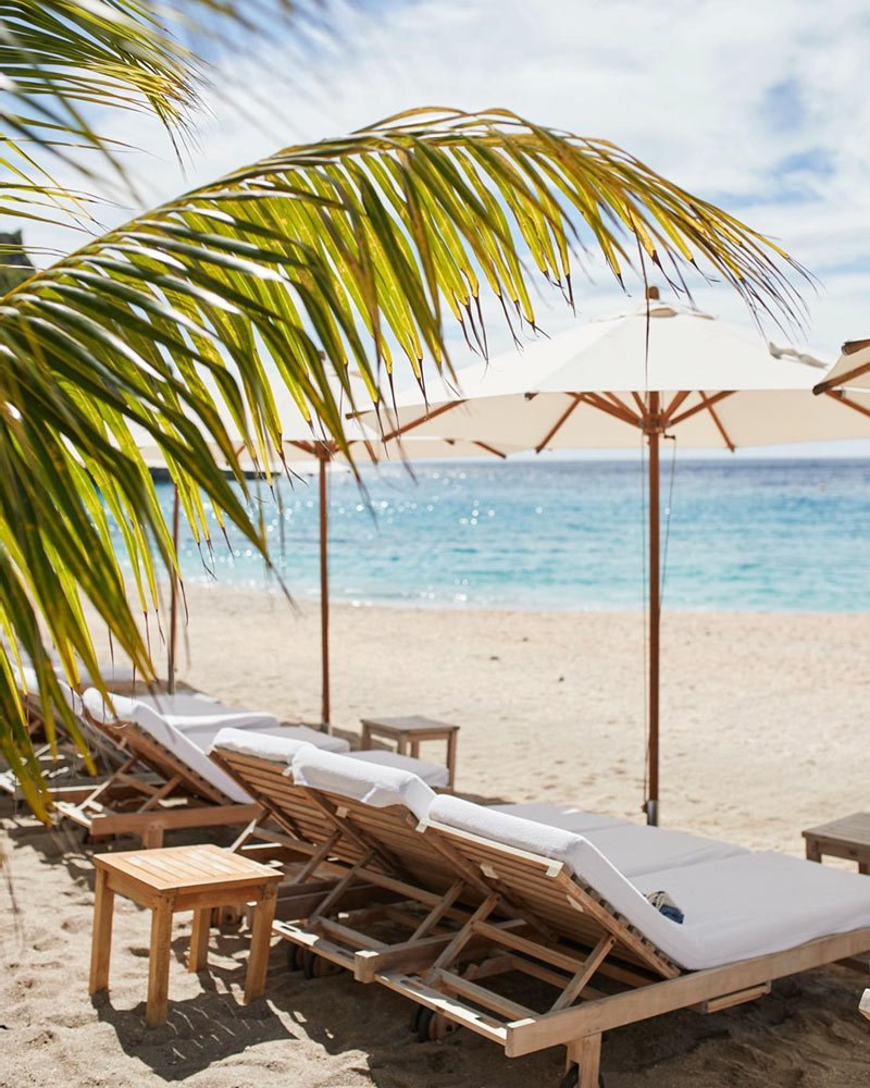 You can rent beach chairs at Shellona Beach Club, St. Barts.