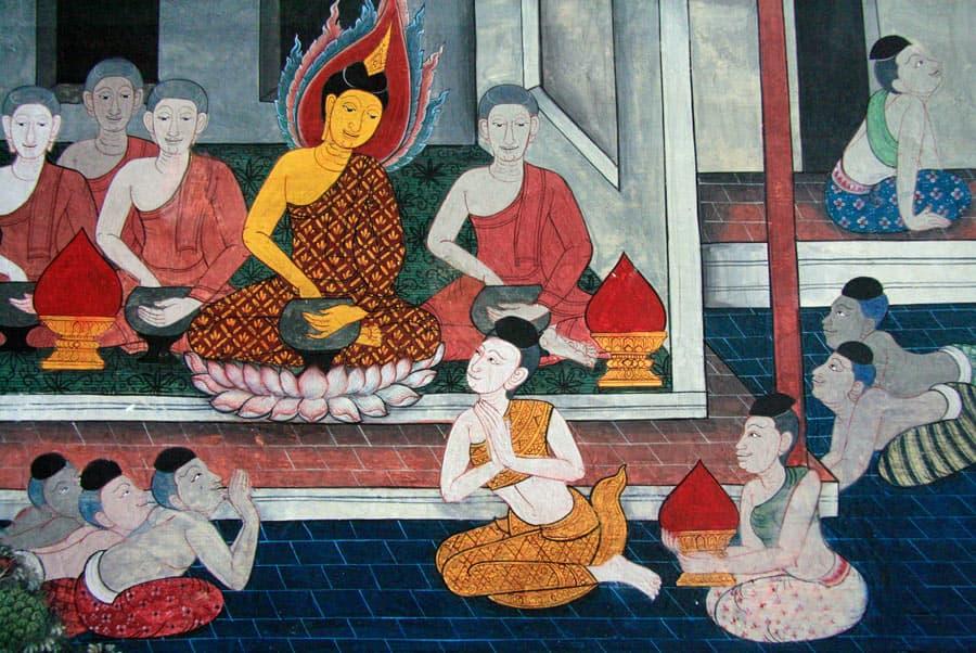 Colorful paintings at Wat Pho Temple in Bangkok