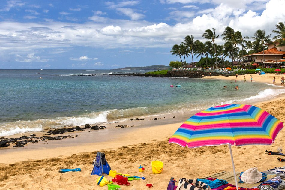 Poipu Beach Park is one of the most popular beaches in Kauai for swimming.