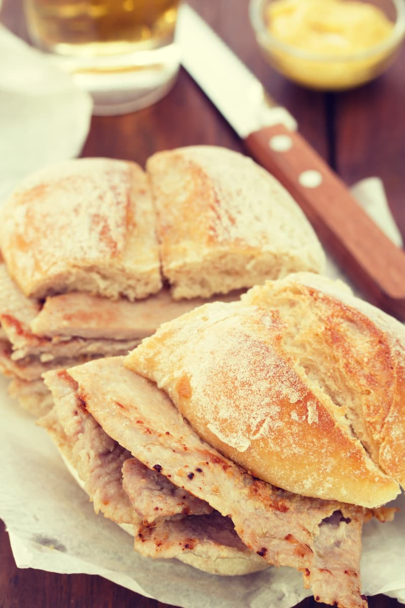 Portuguese bifana sandwich