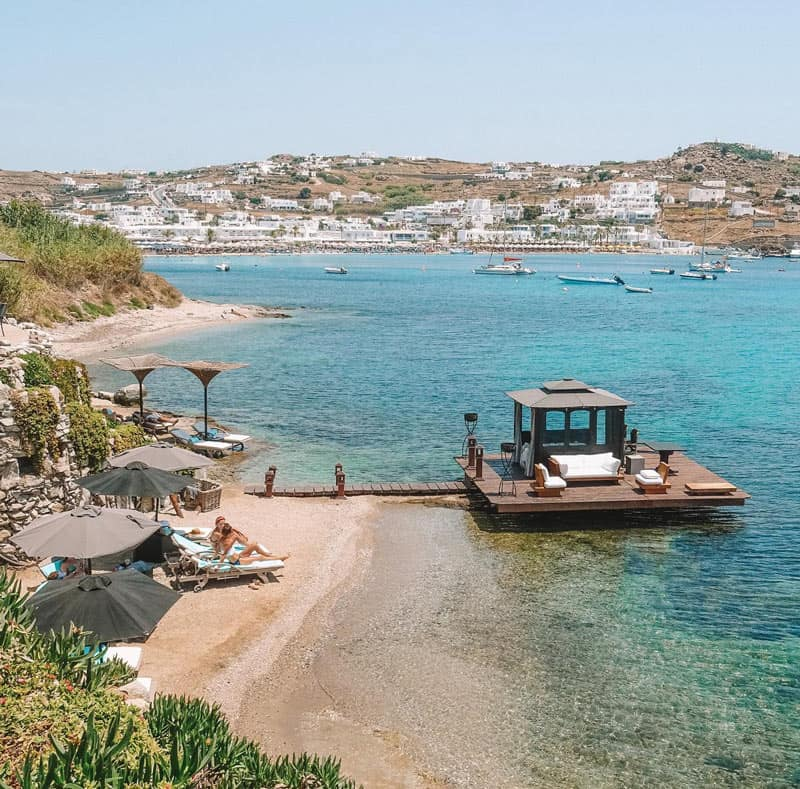 It may be small, but the pebbly Kivotos beach is one of the best private Mykonos beaches.