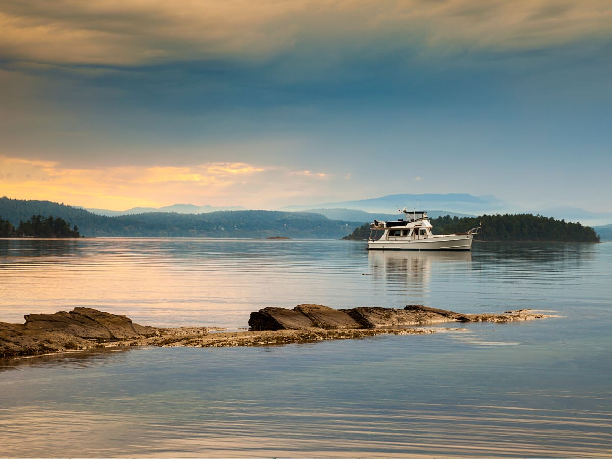 Montague Harbour Marine Park is a great place to watch the sunset on Galiano Island.