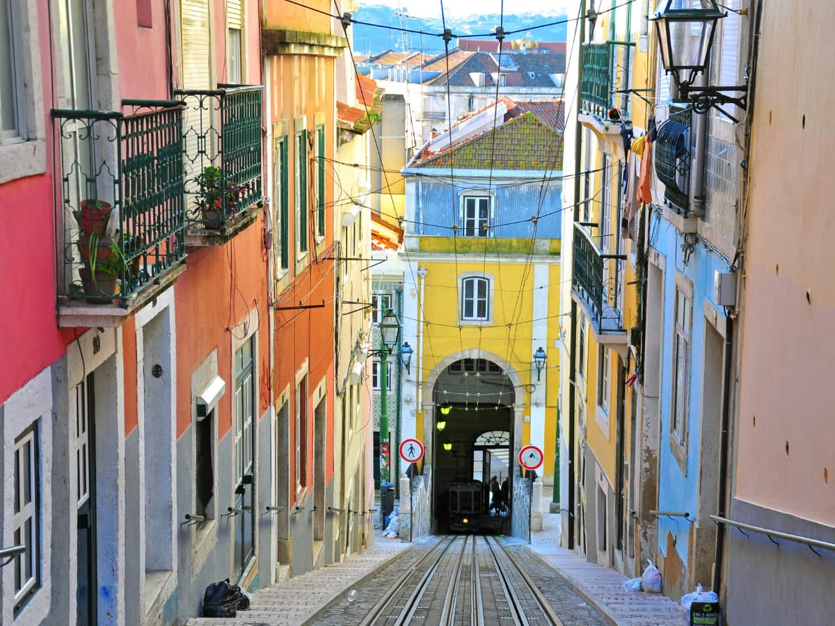 A colorful narrow street in Lisbon