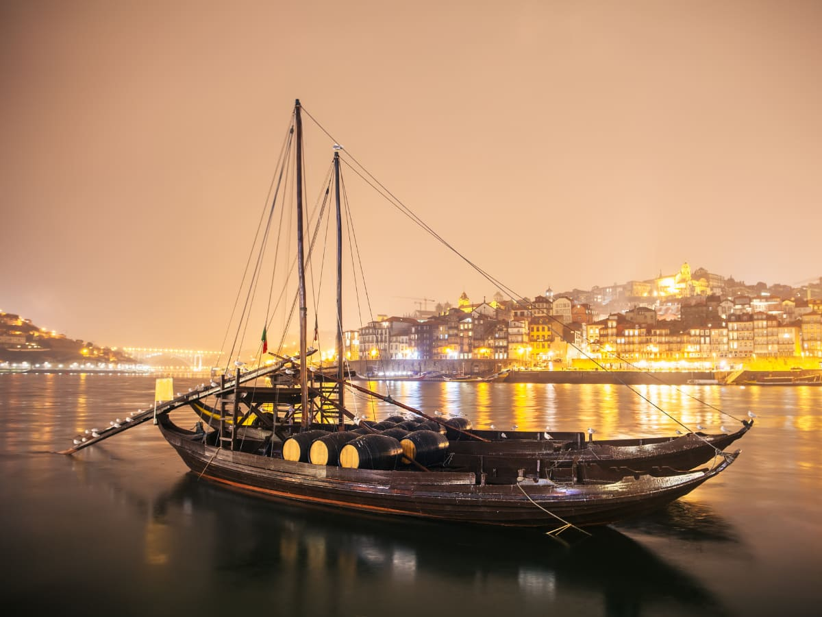 A Rabelo boat is a traditional Portuguese wooden boat used to transport port wine.