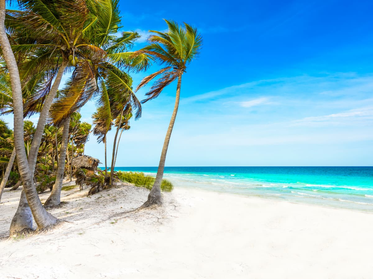 The white sand beaches of Cancun are fabled.