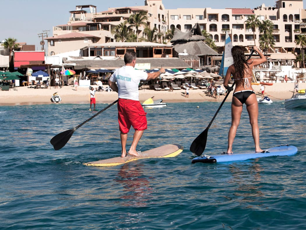 SUP is a popular activity in Cabo San Lucas.
