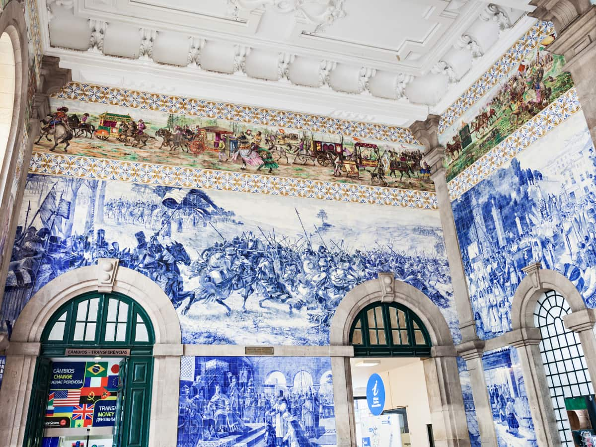 The Sao Bento train station is covered in over 20,000 azulejo tiles (Portugal's celebrated blue and white tiles).