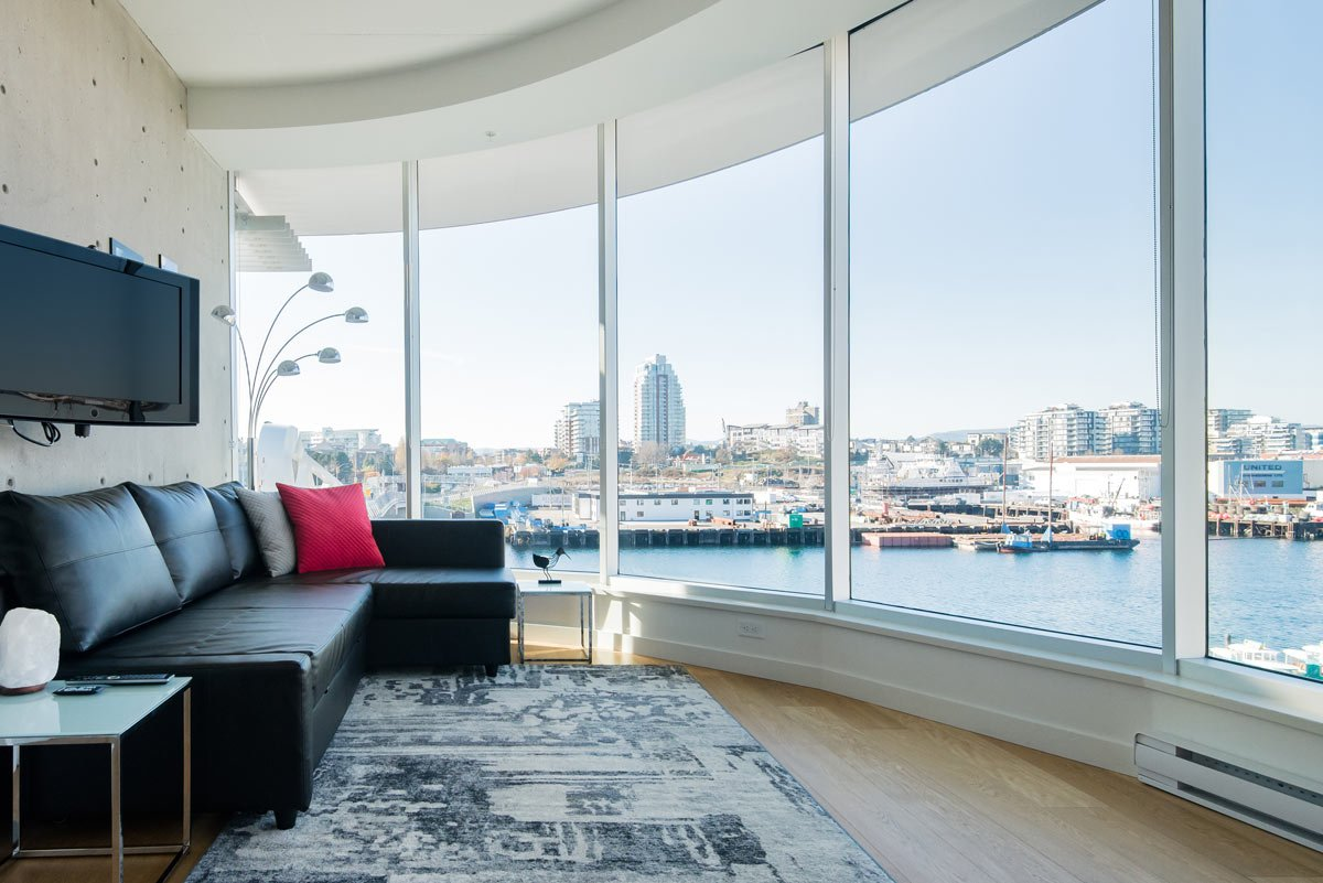 This downtown Victoria Airbnb is a light and bright waterfront studio.