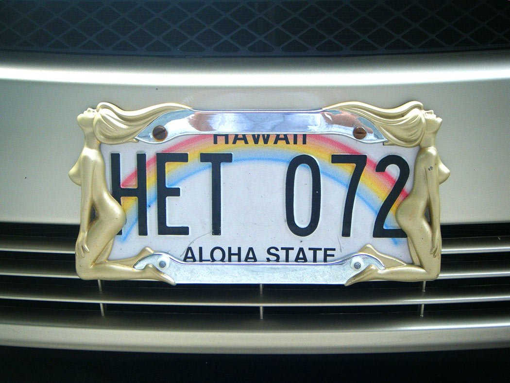 The Hawaiian license plates with names are especially popular items in local Hawaii souvenir shops.