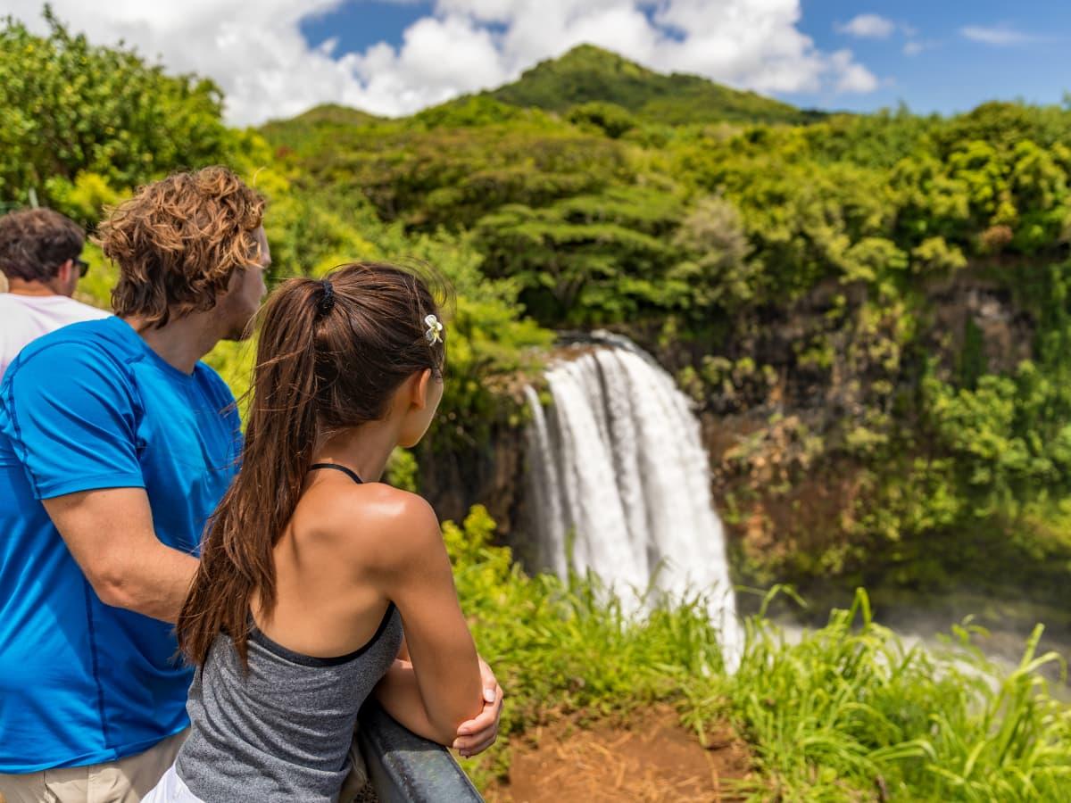 Enjoying views of the Wailua Falls on Kauai