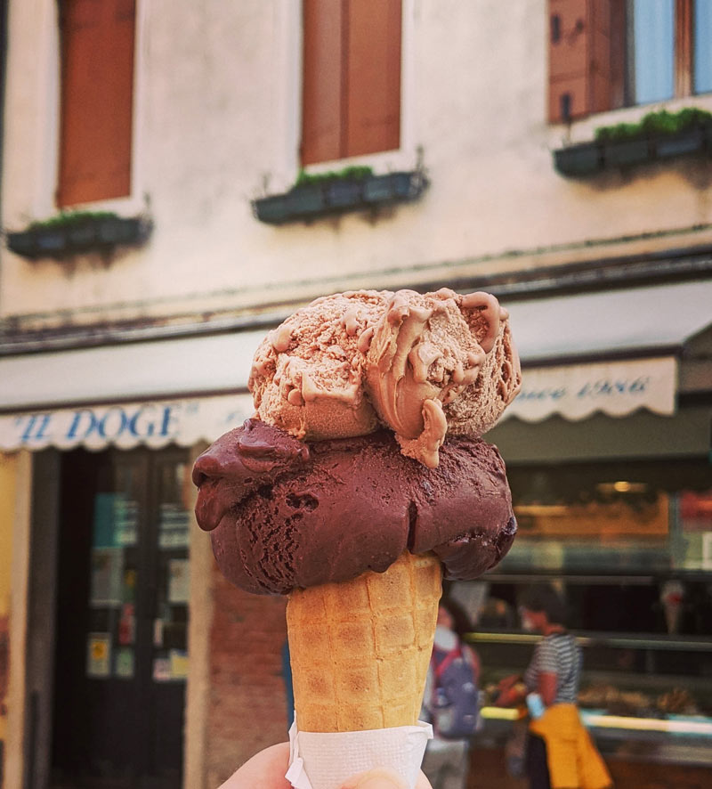 The ice-cream and gelato in Venice, Italy, is wonderful!