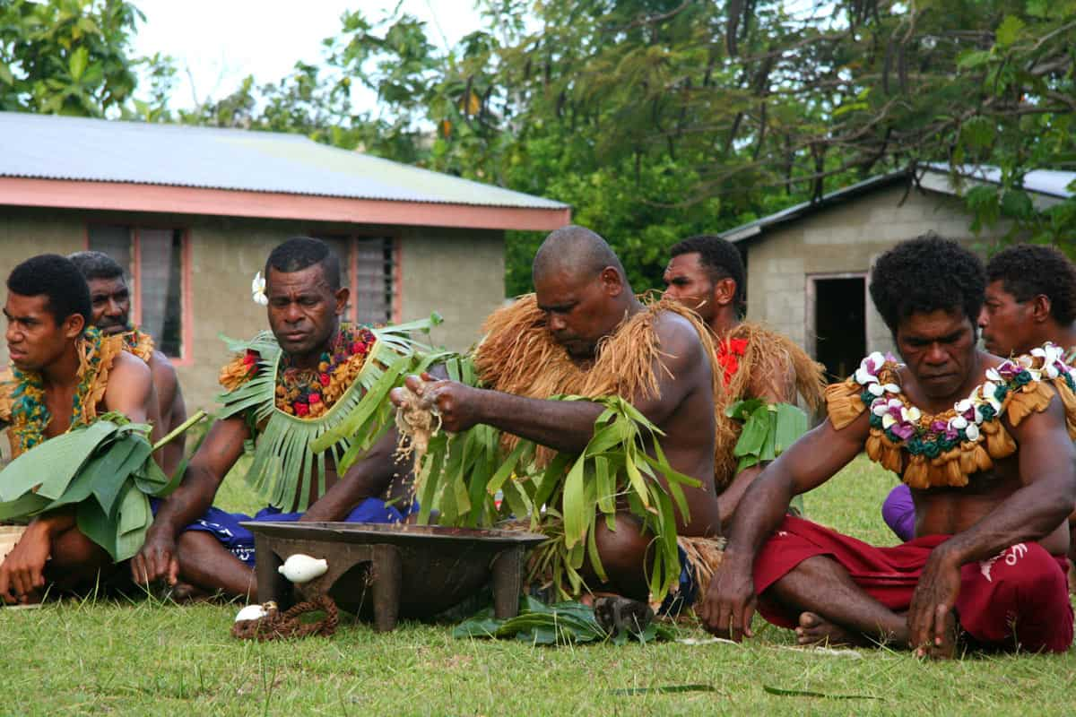 While cruising Fiji, villagers prepare the potent kava drink for us to taste.