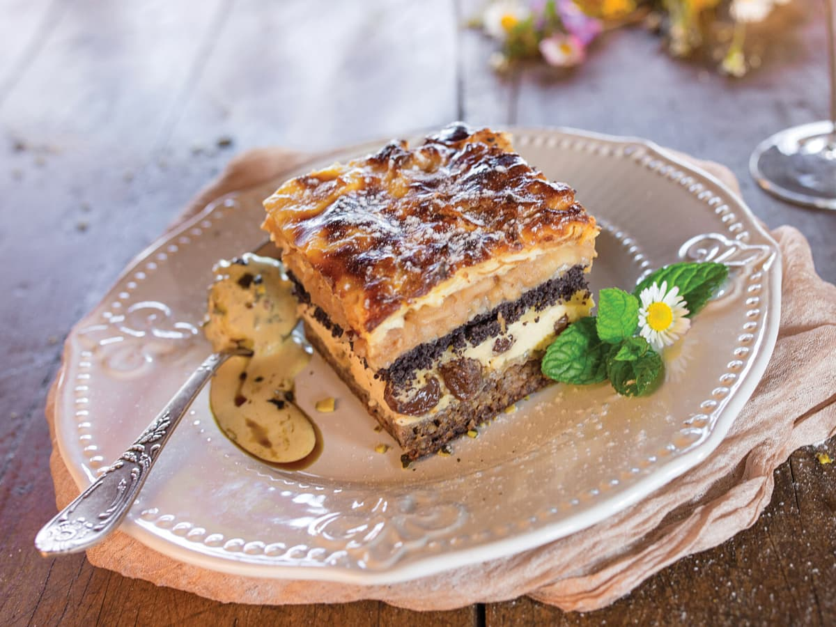 Medimurska gibanica is a cross between a layer cake and Croatian strudel.