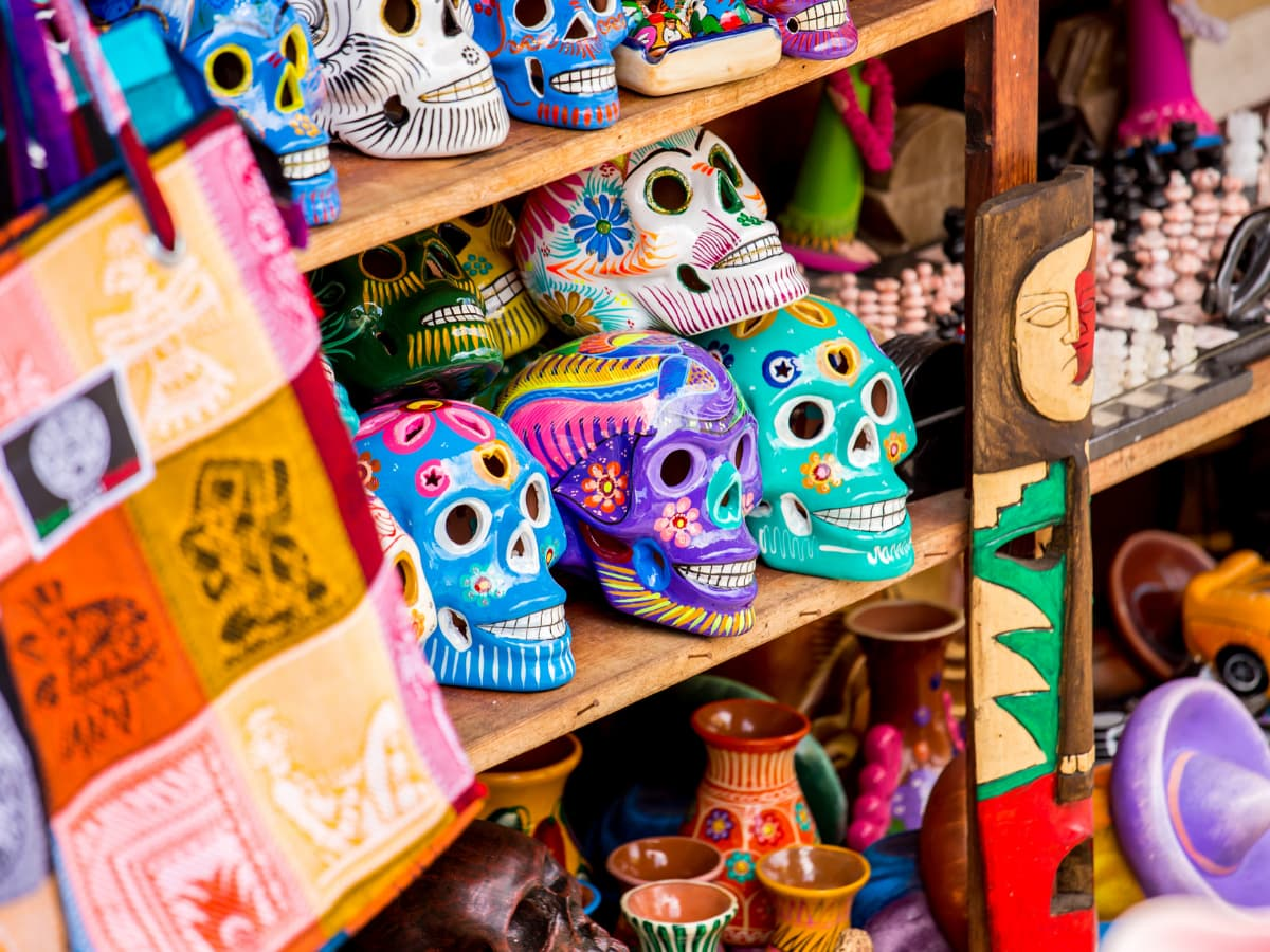 Some of the best souvenirs from Mexico include textiles, maracas, Talavera pottery and Day of the Dead skulls and figurines.