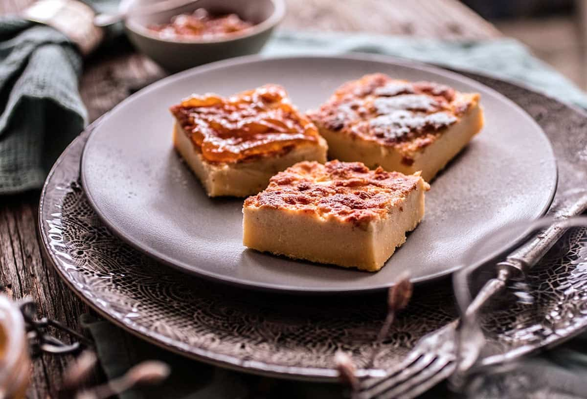 "One of the traditional Croatian desserts from the Zagorje region, zlevanka tastes a little like ""cornbread meets cheesecake."""