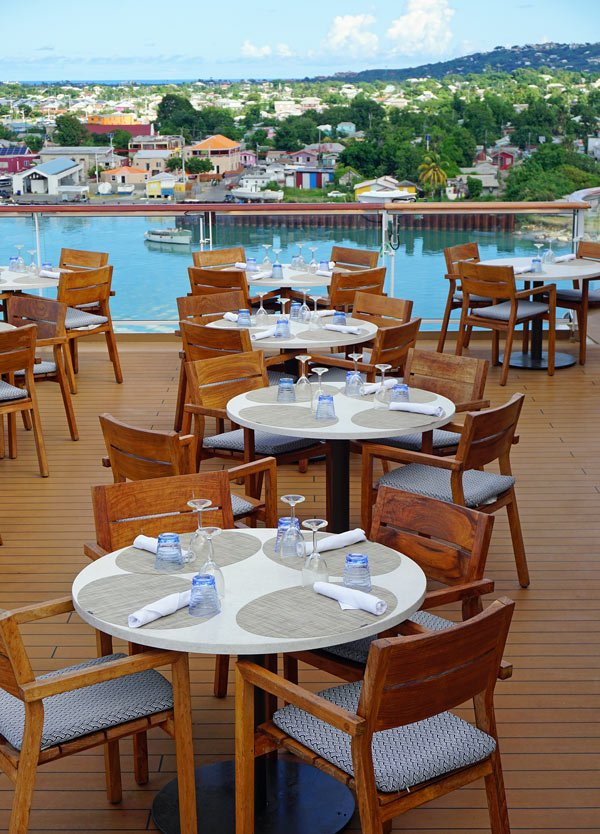 When the weather is fair, we like eating breakfast and lunch outside on the deck on the Viking Sea cruise ship.