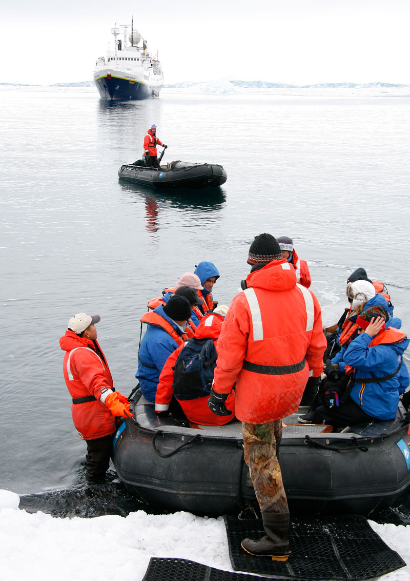 The only way to go ashore in Antarctica is by a Zodiac.