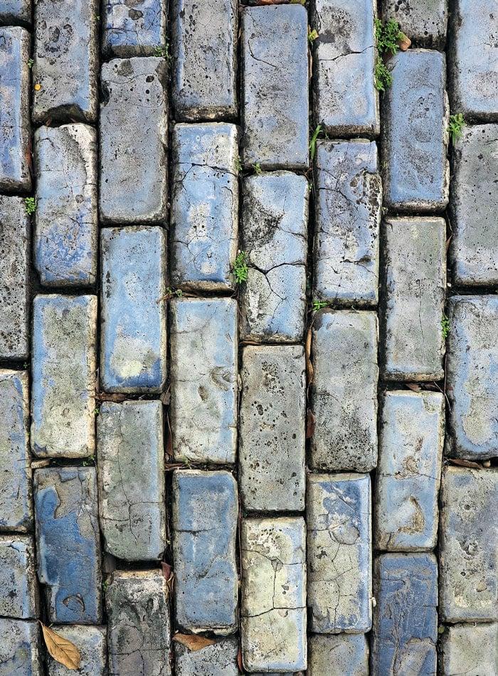 Blue cobblestone street in Old San Juan,  Puerto Rico