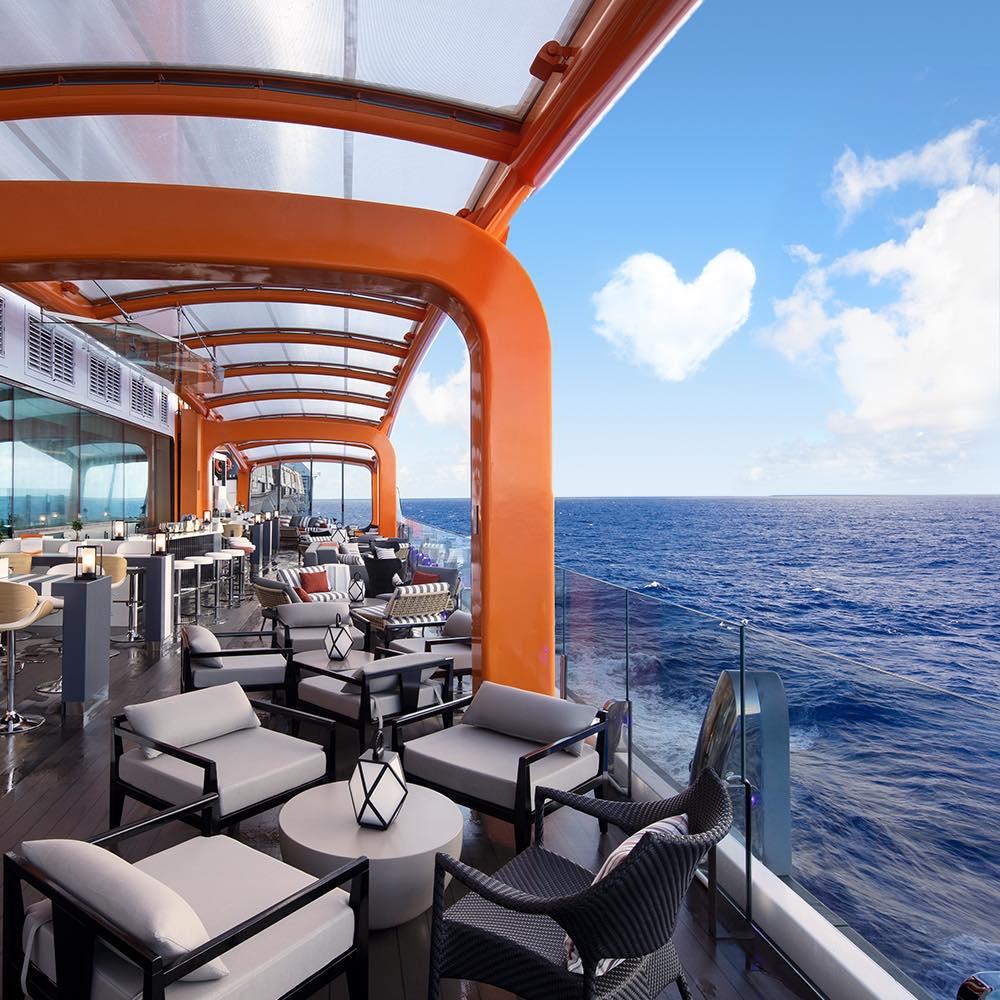 A tender platform, a pool deck or a restaurant? The Celebrity Apex Magic Carpet is all three!