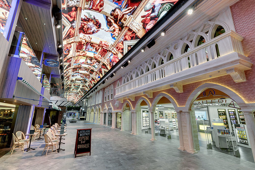 Restaurants, bars, shops - on this new MSC Cruises' ship, you feel like you're in an Italian port (sort of).