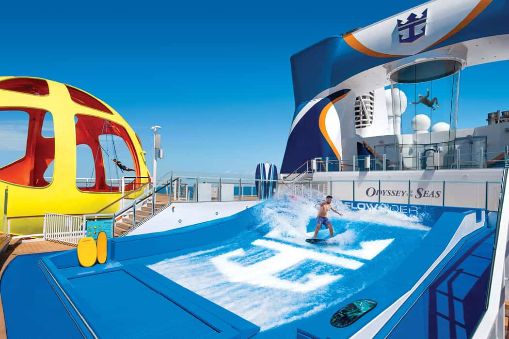 Feel what it's like to go surfing on the surf simulator aboard the new Odyssey of the Seas.